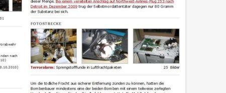 Plastiksprengstoff in  Druckerpatronen